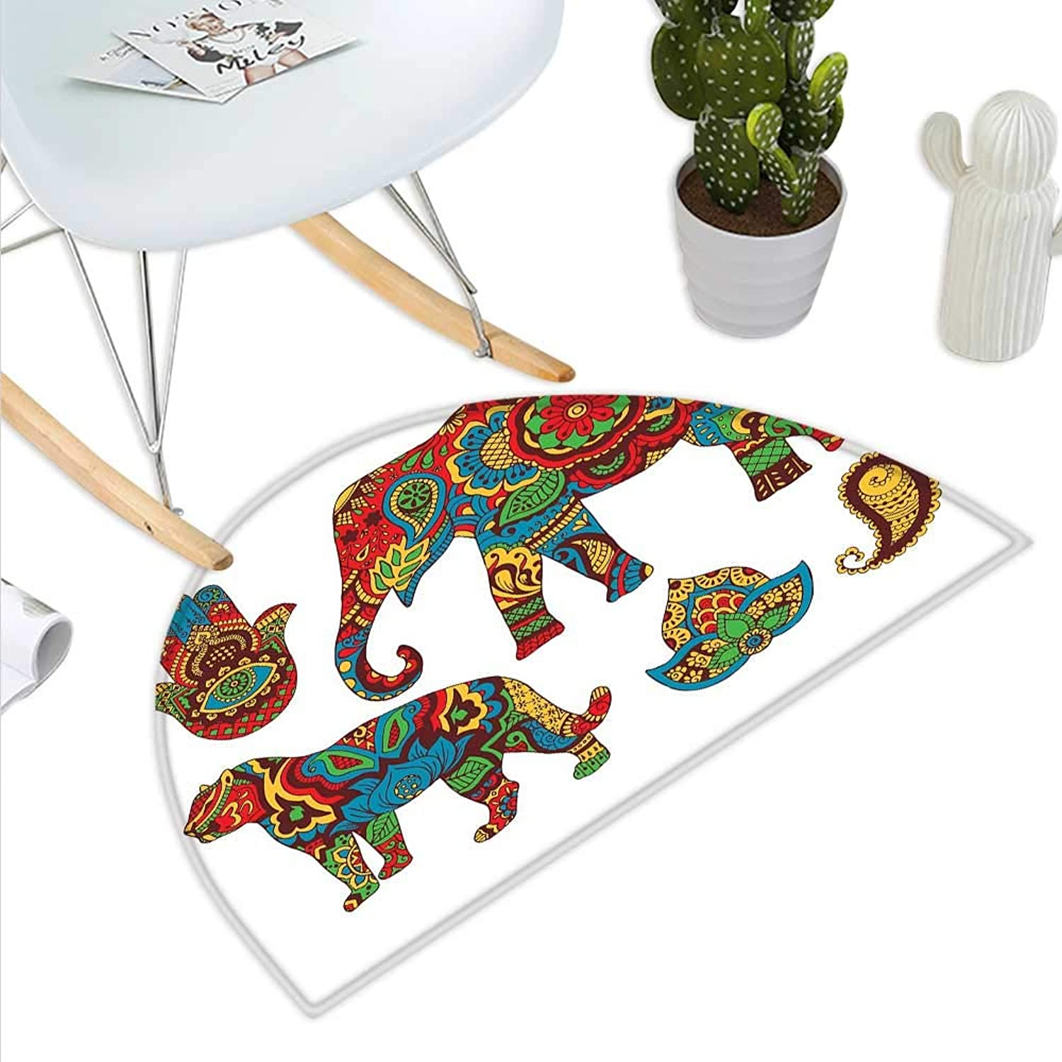 Hamsa Semicircle Doormat African Savannah Animals Paisley and Hamsa Hand Pattern with Orient Ornate Malaysian Halfmoon doormats H 39.3  xD 59  Multicolor