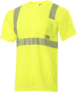 JORESTECH Safety T Shirt Heat Transfer Reflective High Visibility Short Sleeve Yellow/Lime ANSI Class 2 Level 2 Type R TS-03 (L)