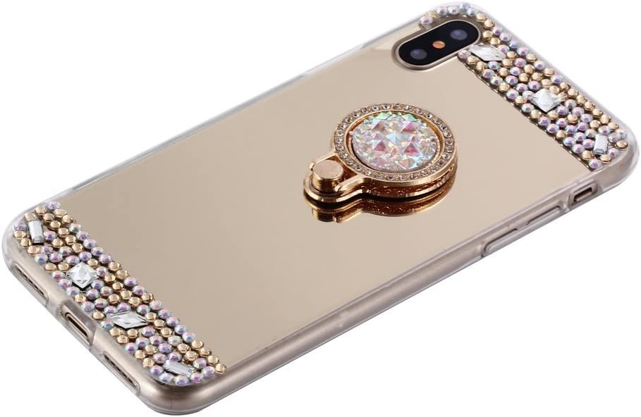 iPhone 11 Case,Lozeguyc Crystal Rhinestone Mirror Glass Case Bling Diamond Soft Rubber Makeup Case for iPhone 11 6.1 Inch with Detachable 360 Degree Ring Stand-Silver