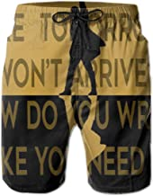 Men's Beach Shorts-Alexander-Hamilton-Musical Star Black Yellow Swimsuits