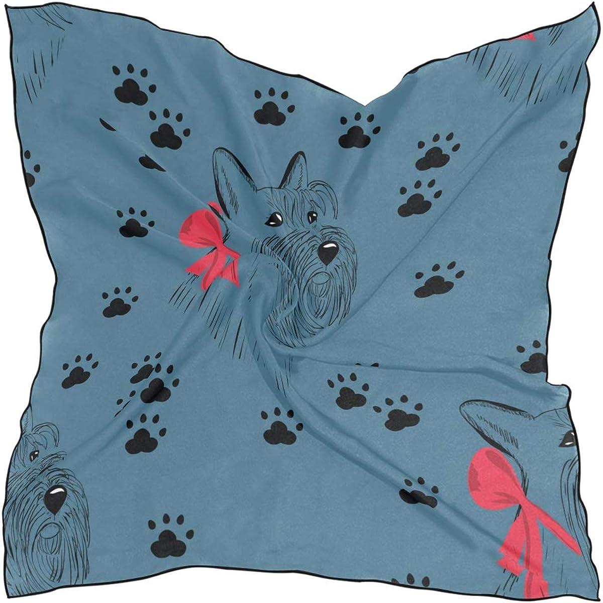 Women's Soft Polyester Silk Square Scarf Scottish Terrier Pet Dog Cute Cartoon Design Furry Fashion Print Head & Hair Scarf Neckerchief Accessory-23.6x23.6 Inch
