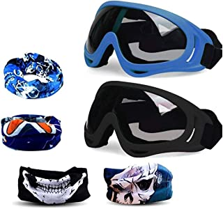 Fstop Labs Foam Gun Accessories, Blaster Face Mask Eye Shield Protection Goggles Glasses for Nerf N-Strike Elite Rival Series, Adjustable with UV Protection (2 Masks, 4 Scarves, Blue & Black)