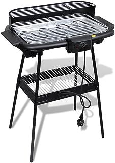 Festnight Barbacoa Eléctrica Rectangular con Parilla y Soporte - Color de Negro y Plata, 59x42x78 cm