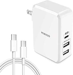 Nimaso PD 3.0-1 USB Type C & 2 USB-A 充電器 【Power Delivery対応 45W 3ポート USB-C急速充電器】 折畳式プラグ搭載 ACアダプター iPhone/iPad/Android/MacBook/Nintendo Switch 各種機種対応【Type C to Cケーブル付き】