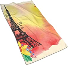 YABABY Beach Towel Polyester Washcloths 27.5 X 17.5 in, Romantic Floral Watercolor Image Eiffel with Butterfly Historical French Heritage Art,for Travel,Beach,Swimming,Bath,Camping,and Picnic.