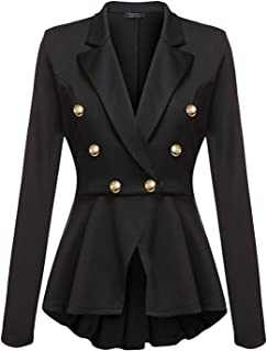 Cekaso Women's Peplum Blazer One Button Crop Frill Ruffle Hem High Low Work Blazer