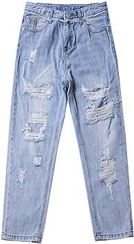 Fcwjhntsl Pantalones Vaqueros Rasgados Para Mujer Azul Suelto Vintage Mujer Moda Mujer Cintura Alta Holgado Mama Jeans Mujer Pantalones Casual Jeans Xxl Amazon Es Deportes Y Aire Libre