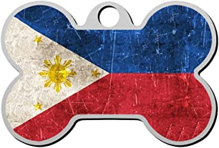 GPZHM Vintage Aged and Scratched Filipino Flag Pet ID Tags Personalized Custom Print Bone Shape Dog Tags & Cat Tags