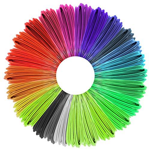 Justech 3D Penna Filamento Ricarica PLA 25 Colori Rusee 1.75mm PLA Fliament Nessun Odore Set per la Stampa 3D Hobby Creativi 3D Stampante, 5M Ogni Colore
