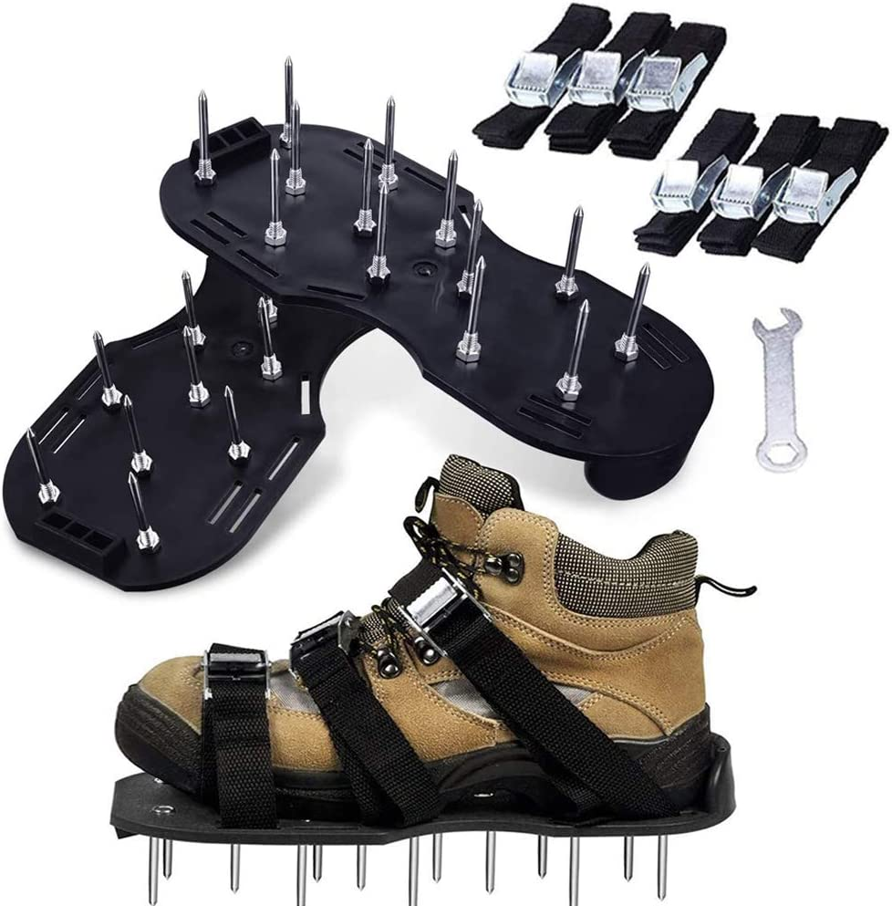 Black Lawn Aerator Shoes with 6 Direct stock Sales discount Buckles Straps Adjustable Metal
