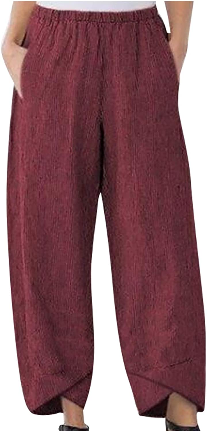 NIDOV Pants for Women Embroidered Wide Leg Lounge Trousers with Pockets