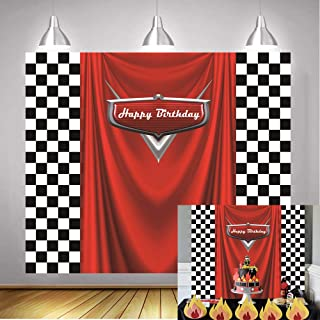 Daniu Racing Competition Champion Backdrop red Banner Victory Background Car Racing Check Flag Backdrop boy Birthday Party Photography Background Decoration Supplies Studio Party Booth backdrops 7x5FT