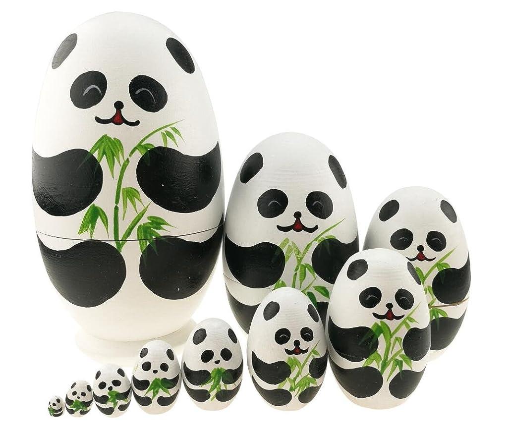 Cute Animal Theme Black and White Panda Egg Shape Wooden Handmade Nesting Dolls Matryoshka Dolls Set 10 Pieces for Kids Toy Birthday Home Kids Room Decoration