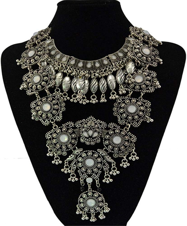 Yzibei Schön damen Boho Statement Halskette - Mode Lange Silber böhmischen indischen Schmuck oxidiert für Frauen große ethnische Modeschmuck eine Farbe B07JB9Q9P4 Einzigartig  | Verschiedene Stile und Stile