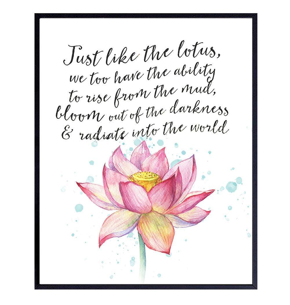 Inspirational Bargain sale Meditation Direct store Art Print Lotus Wall - Motivational
