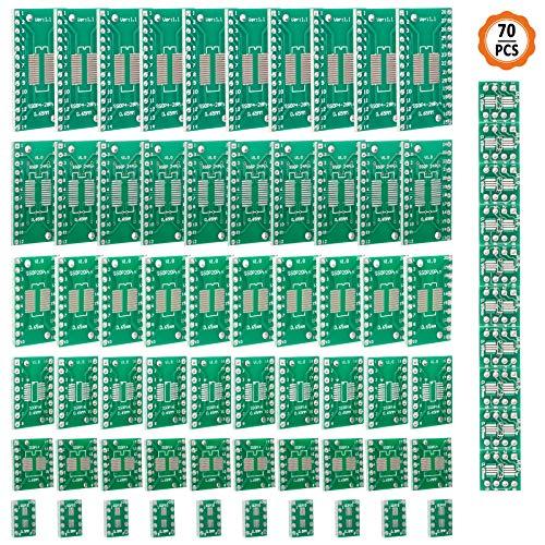 Jubaopen 70 Stück Doppelseitig Lochrasterplatte Kit PCB Universal Board Leiterplatte Platine Streifenrasterplatine PCB Prototype Board mit 7 Module (SOP8 SOP10 SOP14 SOP16 SOP20 SOP24 SOP28)