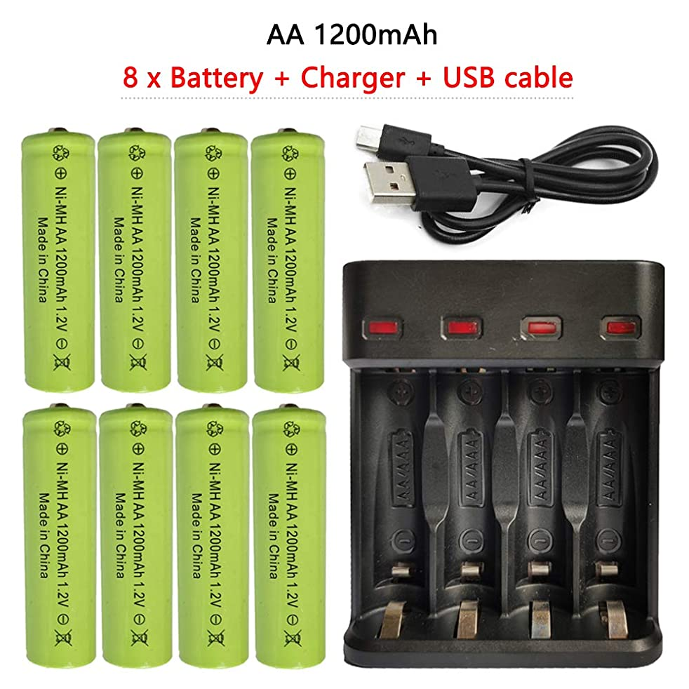 AA Ni-MH Rechargeable Batteries 8 x 1200mAh aa Battery + 4 Slots Ports AA and AAA Battery Charger, Auto-Safety Feature, Over-Charge Protection(Black)
