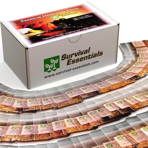 Survival Essentials 100 Variety Premium Heirloom Non Hybrid Non GMO Seed Bank ? 17,880+ Seeds - All In One Super Value Pak?Veggies, Fruits, Medicinal/Culinary Herbs ? Plus FREE Microgreens Kit.