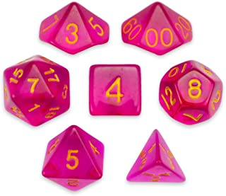 Wiz Dice 7 Die Polyhedral Dice Set - Faerie Fire (Translucent Hot Pink) with Velvet Pouch