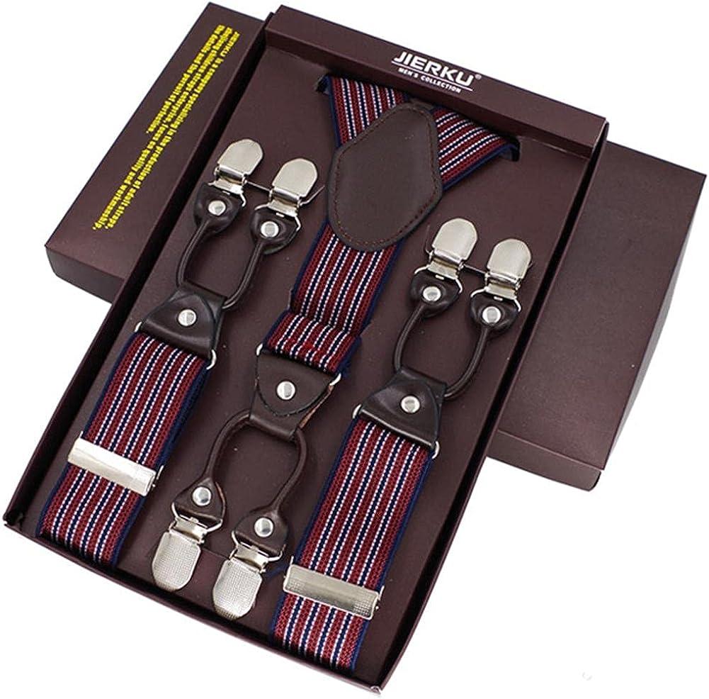 Men'S Casual Fashion Braces Leather Adjustable 6 Clip Belt Strap