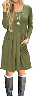 AUSELILY Women's Long Sleeve Pleated Loose Swing Casual Dress with Pockets Knee Length (XL, Army Green)