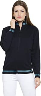 AWG Women's Cotton High Neck Sweatshirt with Zip - Navy Blue