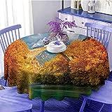 Apartamento Decor impermeable mesa redonda Paisaje nublado de la histórica Konitsa Puente y río Aoos con árboles de otoño Como regalo Diámetro 55'