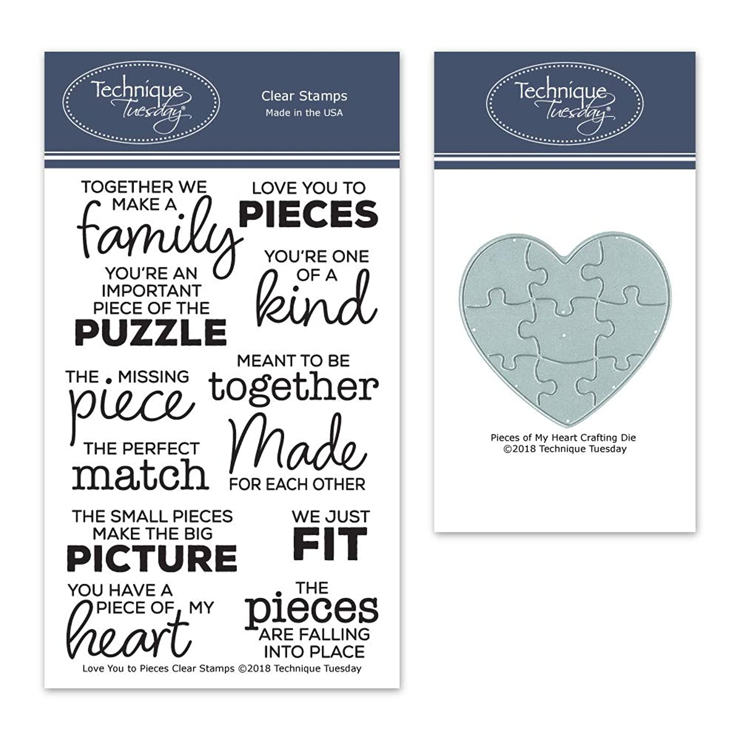 Love You to Pieces Stamp Set and Pieces of My Heart Crafting Die Bundle