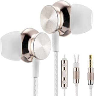 Earbuds, Betron BS10 Noise Isolating in Ear Headphones, Earphones with Microphone, Volume Control and Powerful Bass Sound Includes 3 Different Sized Pairs of Ergonomic Ear Buds and Carry Case (Gold)
