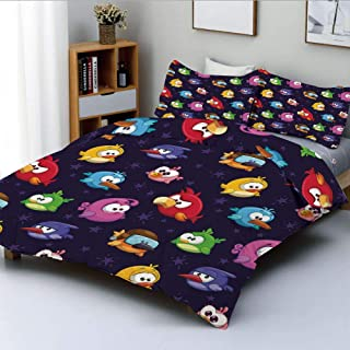 Duplex Print Duvet Cover Set Full Size,Angry Flying Birds Figure with Various Expressions Game Toy Kids Babyish Artsy ImageDecorative 3 Piece Bedding Set with 2 Pillow Sham,Multicolor,Best Gift For Ki