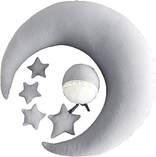 Yunso Juego de gorro de bebé, cojín de luna, muñeca de estrellas, accesorios para fotografía recién nacido