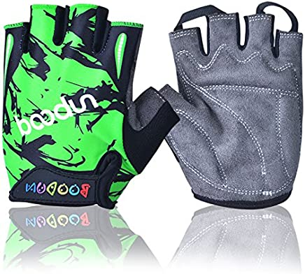 BOODUN Kids Semi Finger Gloves Cycling with Shock-Absorbing Gel Pad Breathable Half Finger Skating