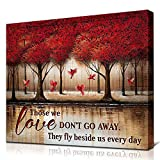 JUSTBR Canvas Wall Art Red Trees and Red Birds Picture Prints on Canvas Landscape Painting Modern Artwork Stretched and Framed Ready to Hang Canvas Art for Home Decoration Size 16'X12'