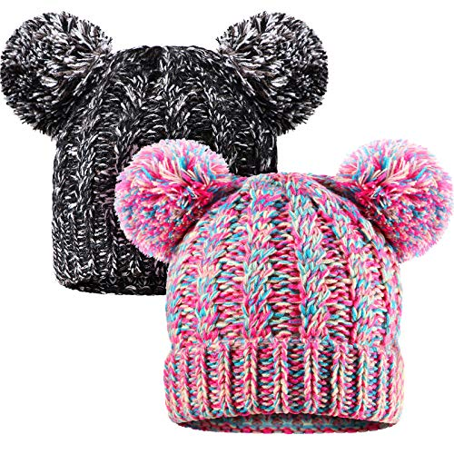 SATINIOR 2 Pieces Knitted Kids Winter Hat with Pompom Ears Toddler Boy Girl Beanie Cap (Black, Pink)
