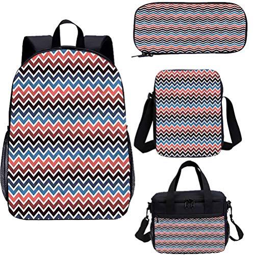 Chevron 15 pulgadas niños escuela libreros conjunto, colores contrastantes líneas 4 en 1 mochila conjuntos
