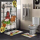 4 Piece Shower Curtain Sets with Non-Slip Rug Toilet Lid Cover, Bath Mat, Welcome To Our Farmhouse Vintage Farm Cow Chicken Pig With Sunflower Durable Waterproof Shower Curtain with Free Hooks