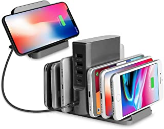 100W USB C Wall Charger ZIKU Wireless Charger 5 Port USB Charging Stand Organizer Travel Charger with a 45W USB C Port for Compatible with iPhone 11/Pro/Max, MacBook Pro/Air, Ipad Pro 2018 and More