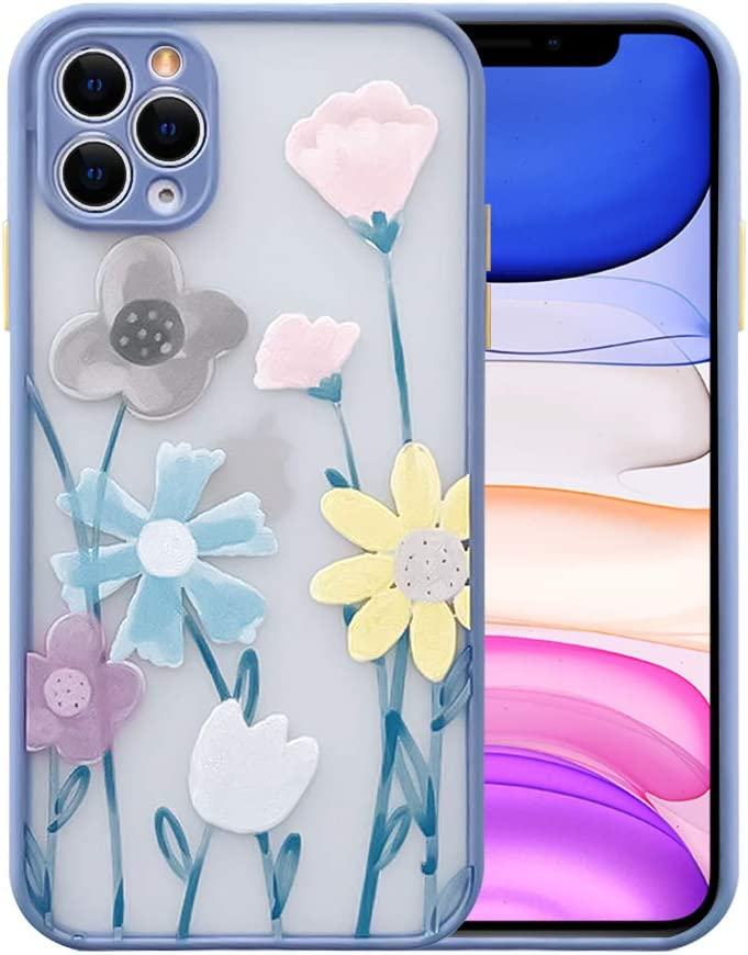 Ownest Compatible with iPhone 11 Pro Max Case for Clear Frosted PC Back 3D Floral Girls Woman and Soft TPU Bumper Protective Silicone Slim Shockproof Case for iPhone 11 Pro Max-Navy Blue