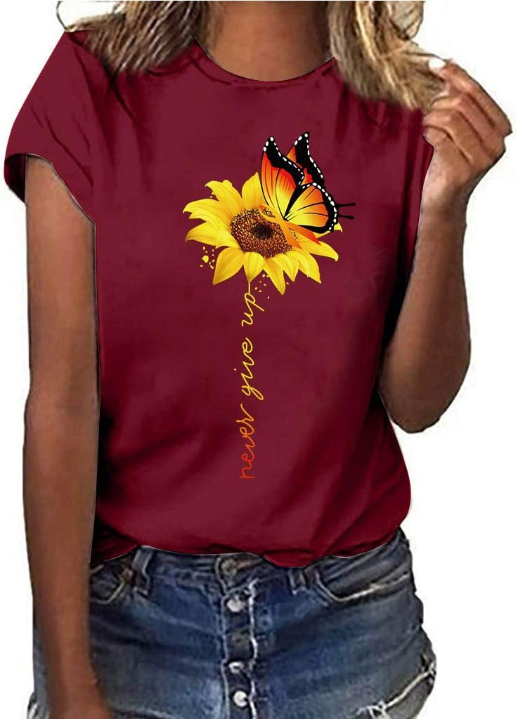 YOMXL Popular products Women's Max 88% OFF O-Neck Plus Size Short Sunflower Sleeve Print T-sh