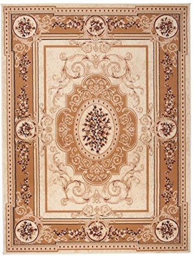 Simbad F744A - Alfombra clásica para salón, clásica y moderna floral persa (beige, 80 x 150 cm)
