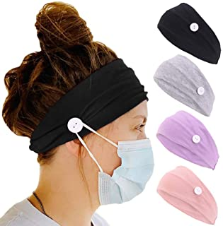 4 Pack Headband with Buttons for Face Mask, Ear Protection Holder Elastic Headbands for Nurse, Womens Workout Button Head Wrap Spa Yoga Headbands