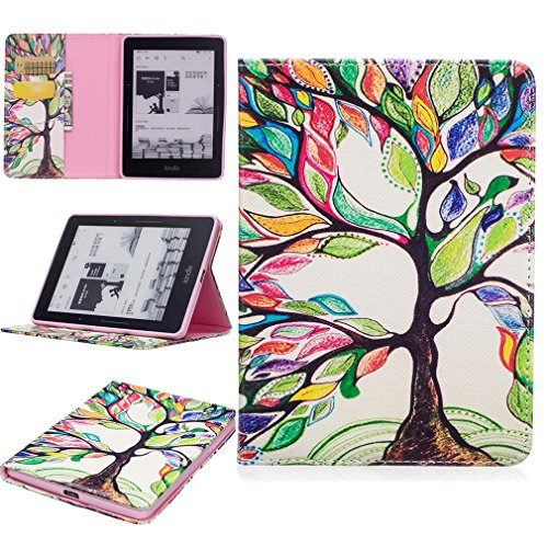 LMAZWUFULM Hülle für Amazon Kindle Voyage 3G 6,0 Zoll PU Leder Mode Lederhülle Fröhlicher Baum Muster Standfunktion Schutzhülle Ledertasche Flip Cover für Kindle Voyage
