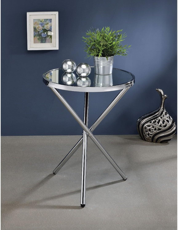 Benzara BM157277 Side Table Mirror and Silver