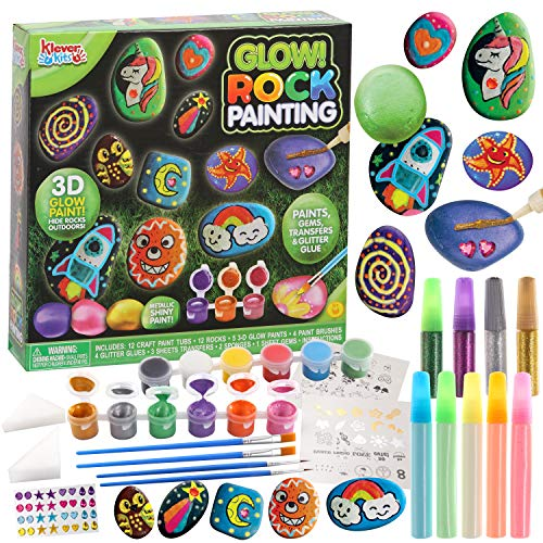 12 Rock Painting Creativity Arts Crafts DIY Supplies Kit with 18 Paints (Glow In The Dark & Metallic & Standard Paints) Decorate Your Own for Kids Painting Gifts Family Activity Birthday Present