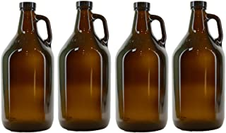 True Fabrications 1/2 Gallon Amber Beer Growler with poly seal caps, Reusable, Has Uv Protection (Pack of 4)