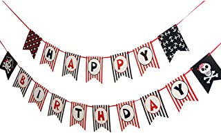 Pirate Theme Happy Birthday Banner Baby Kids Birthday Party Photo Backdrop Hanging Decorations SUNBEAUTY