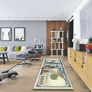 Adarl New Rugs One Hundred Dollar ($100) Bill Print New Benjamin Non-Slip Area Rug Runner for Living Room Bedroom - 71x24inch