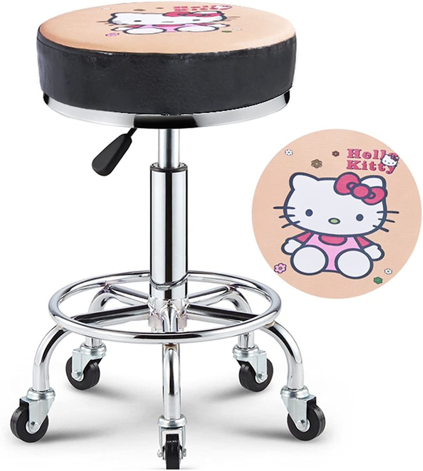 Swivel Stool Chair Adjustable Height,Heavy Duty Hydraulic Rolling Metal Stool for Kitchen,Salon,Bar,Office,Massage (Black) (color   2)