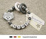 Baby Greifling Beißring geschlossen mit Namen - individuelles Holz Lernspielzeug als Geschenk zur Geburt Taufe - Mädchen Jungen Motiv Fuchs