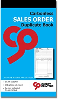 Cherry Carbonless Sales Order Book, 2-Part, with Loose-Leaf Writing Shield, 50 Sets, 4.17 x 7.20 Inches Unnumbered